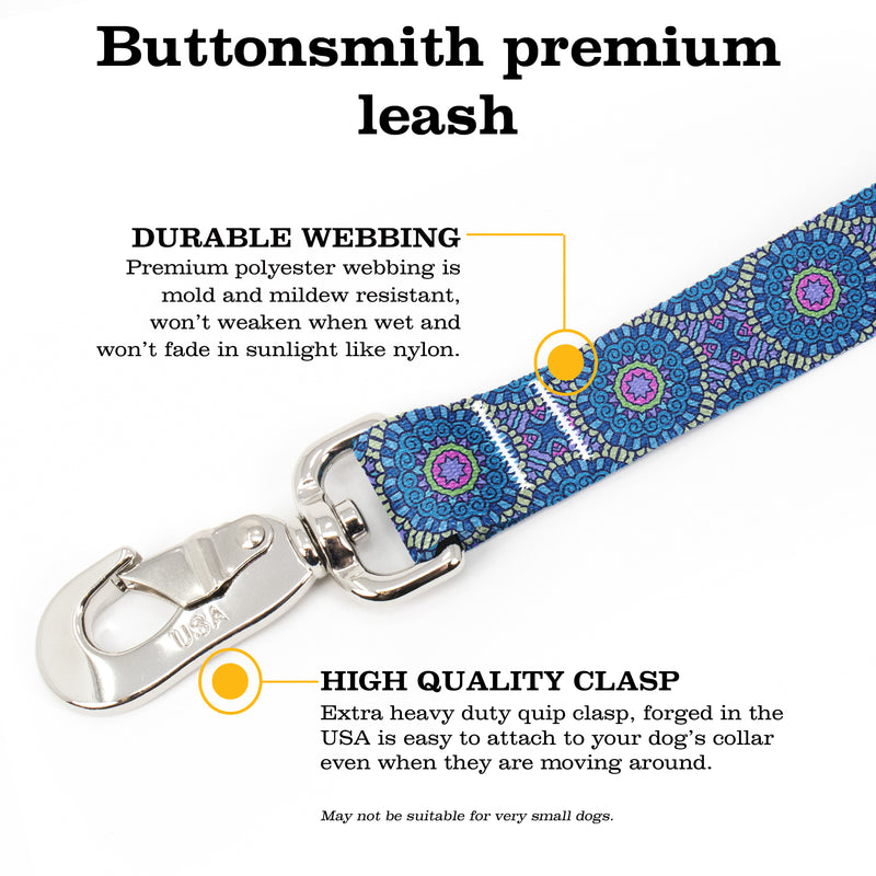 Moroccan Tiles Blue Fab Grab Leash - Made in USA