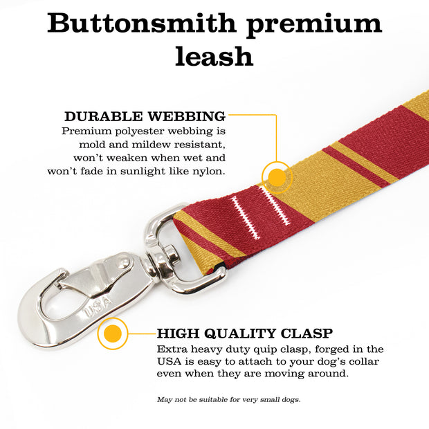 Sporty Red Gold Fab Grab Leash - Made in USA 1