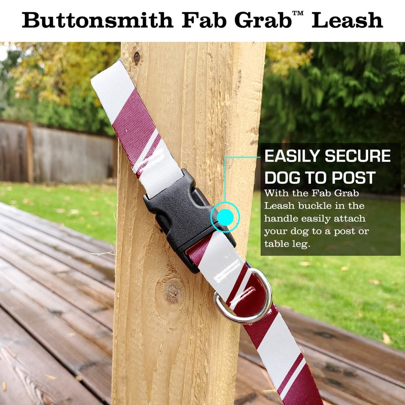 Sporty Red White Fab Grab Leash - Made in USA