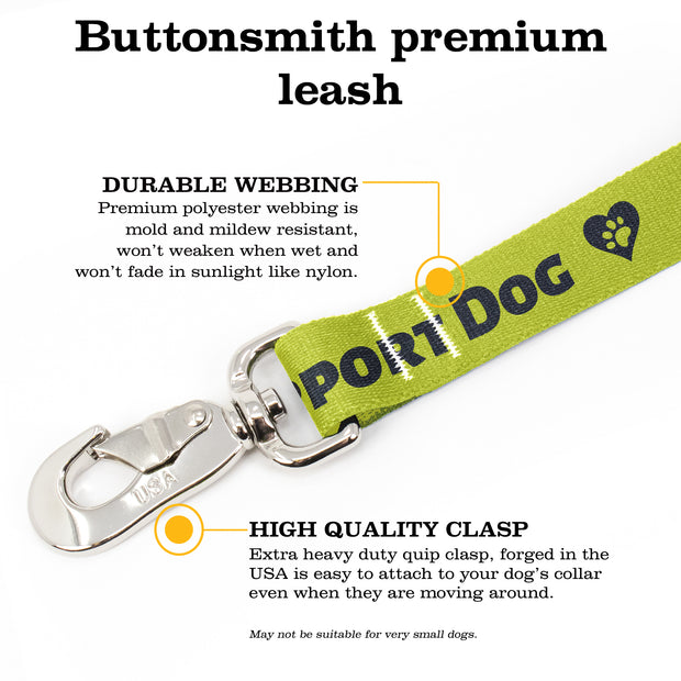 Support Dog High Visibility Yellow Fab Grab Leash - Made in USA 1
