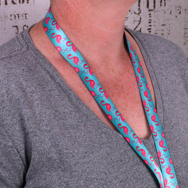 Buttonsmith Flamingos Custom Lanyard - Made in USA