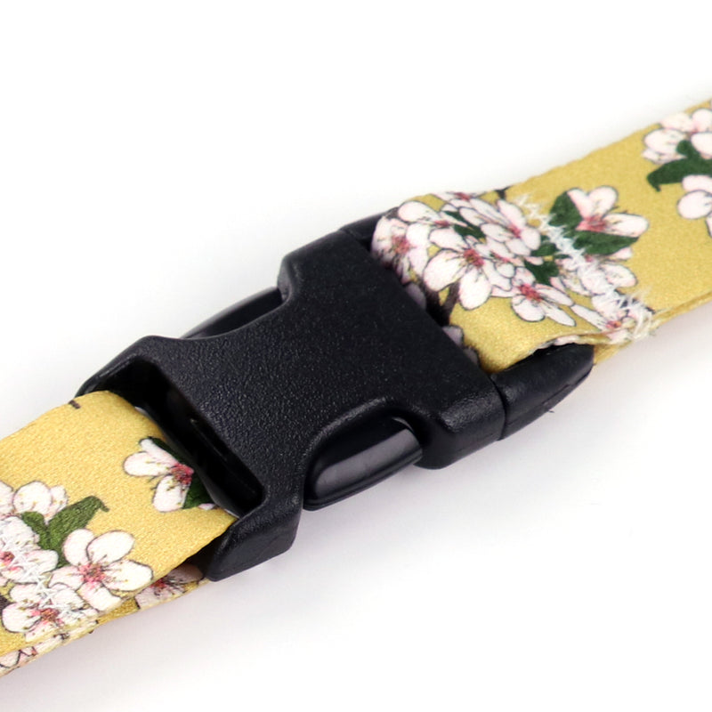 Buttonsmith Cherry Blossoms on Gold Lanyard - Made in USA - Buttonsmith Inc.