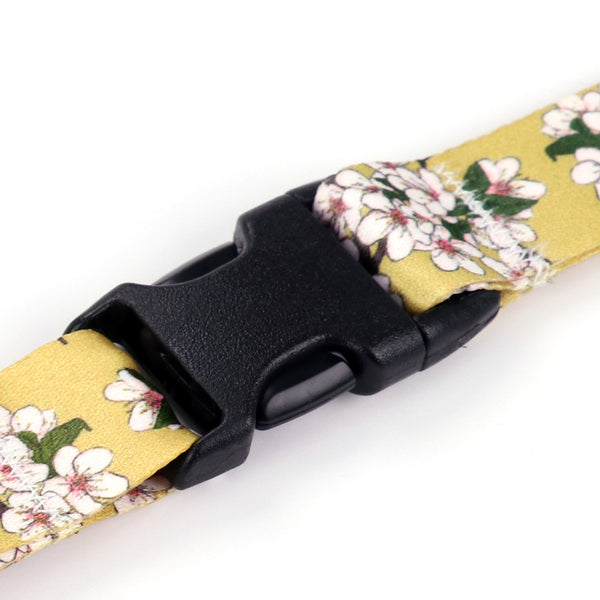 Buttonsmith Cherry Blossoms on Gold Lanyard - Made in USA