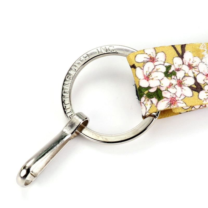 Buttonsmith Cherry Blossoms on Gold Wristlet Lanyard Made in USA - Buttonsmith Inc.