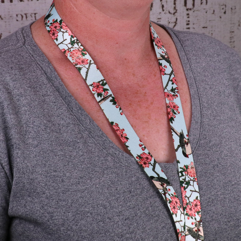 Buttonsmith Hiroshige Cherry Blossoms Lanyard - Made in USA - Buttonsmith Inc.