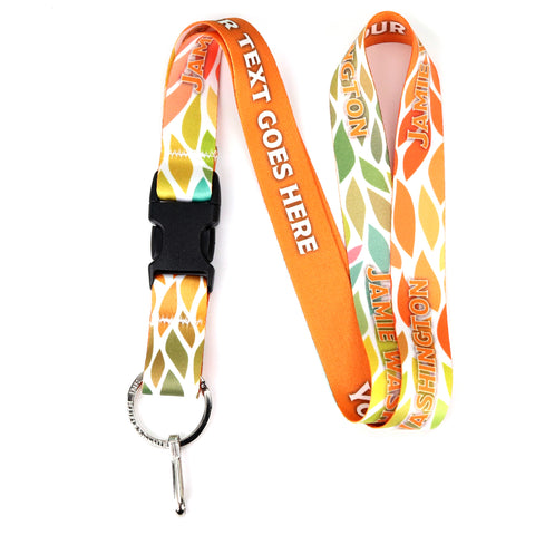 Buttonsmith Color Leaves Custom Lanyard - Made in USA