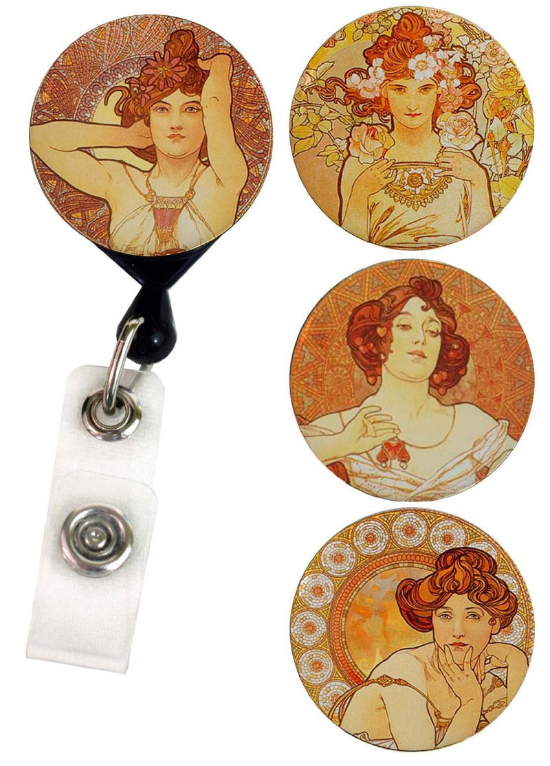 Buttonsmith® Alphonse Mucha Gemstones Tinker Reel® Badge Reel - Made in USA - Buttonsmith Inc.