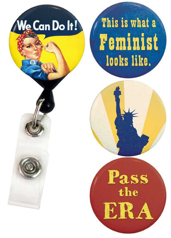 Buttonsmith® Feminist Tinker Reel® Badge Reel – Made in USA