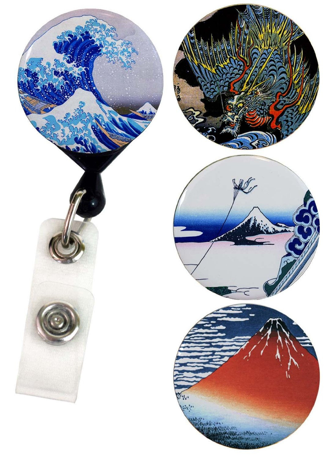 Buttonsmith® Hokusai Tinker Reel® Badge Reel – Made in USA