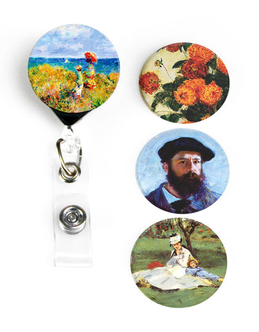 Buttonsmith® Claude Monet Cliff Walk Tinker Reel® Badge Reel – Made in USA