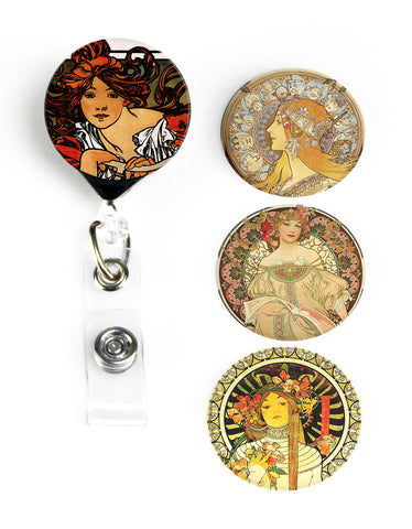 Buttonsmith® Alphonse Mucha Perfecta Tinker Reel® Badge Reel - Made in USA