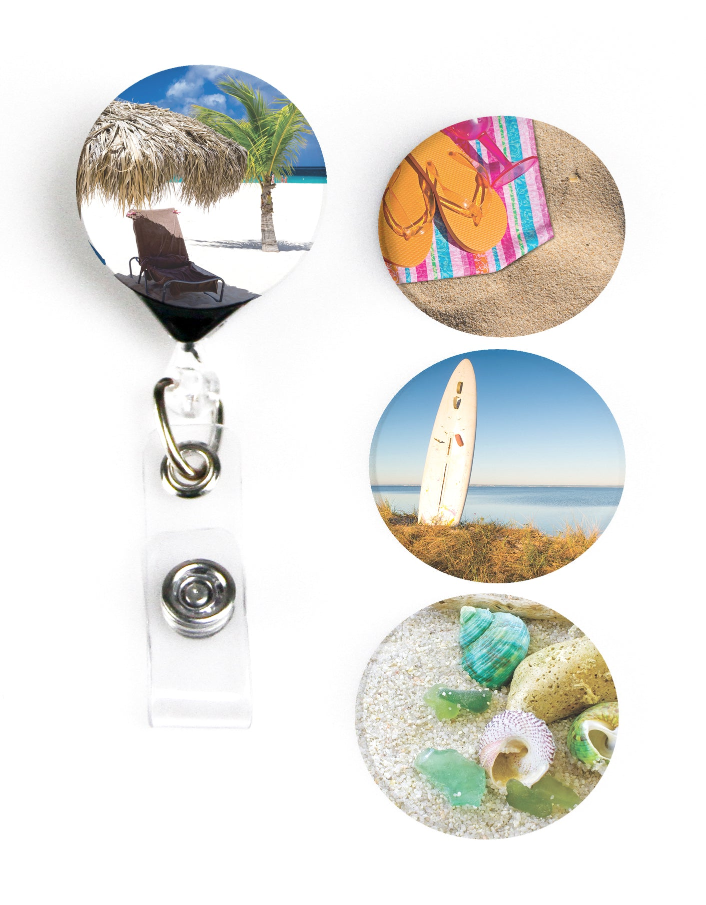 Buttonsmith® At The Beach Tinker Reel® Badge Reel – Made in USA