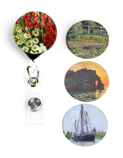 Buttonsmith® Claude Monet Gladiolas Tinker Reel® Badge Reel – Made in USA