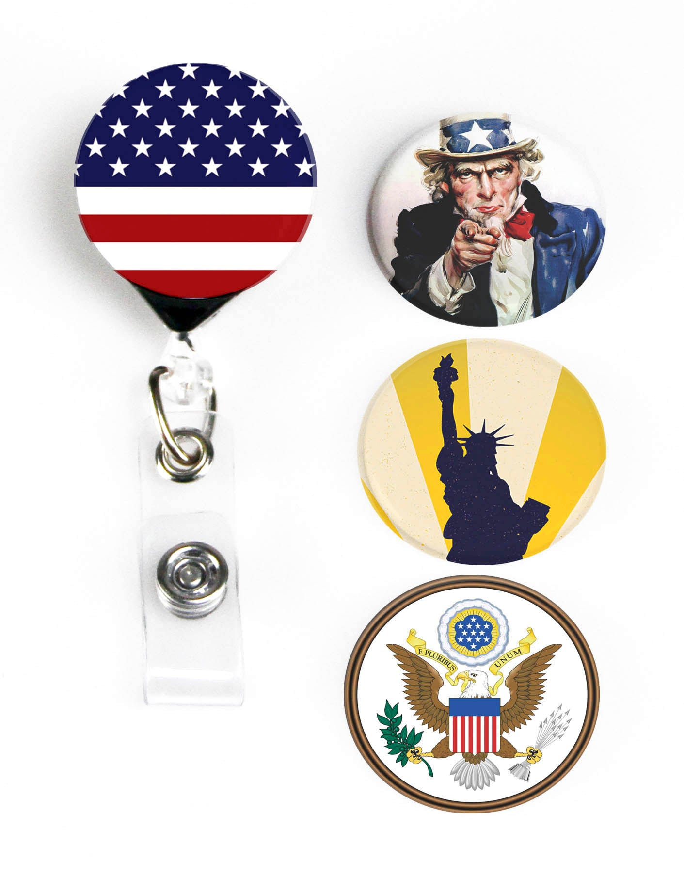 Buttonsmith® Uncle Sam Tinker Reel® Badge Reel – Made in USA