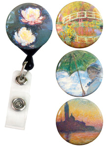 Buttonsmith® Claude Monet Water Lilies Tinker Reel® Badge Reel – Made in USA