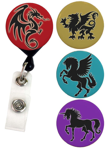 Buttonsmith® Mythical Creatures Tinker Reel® Badge Reel - Made in USA