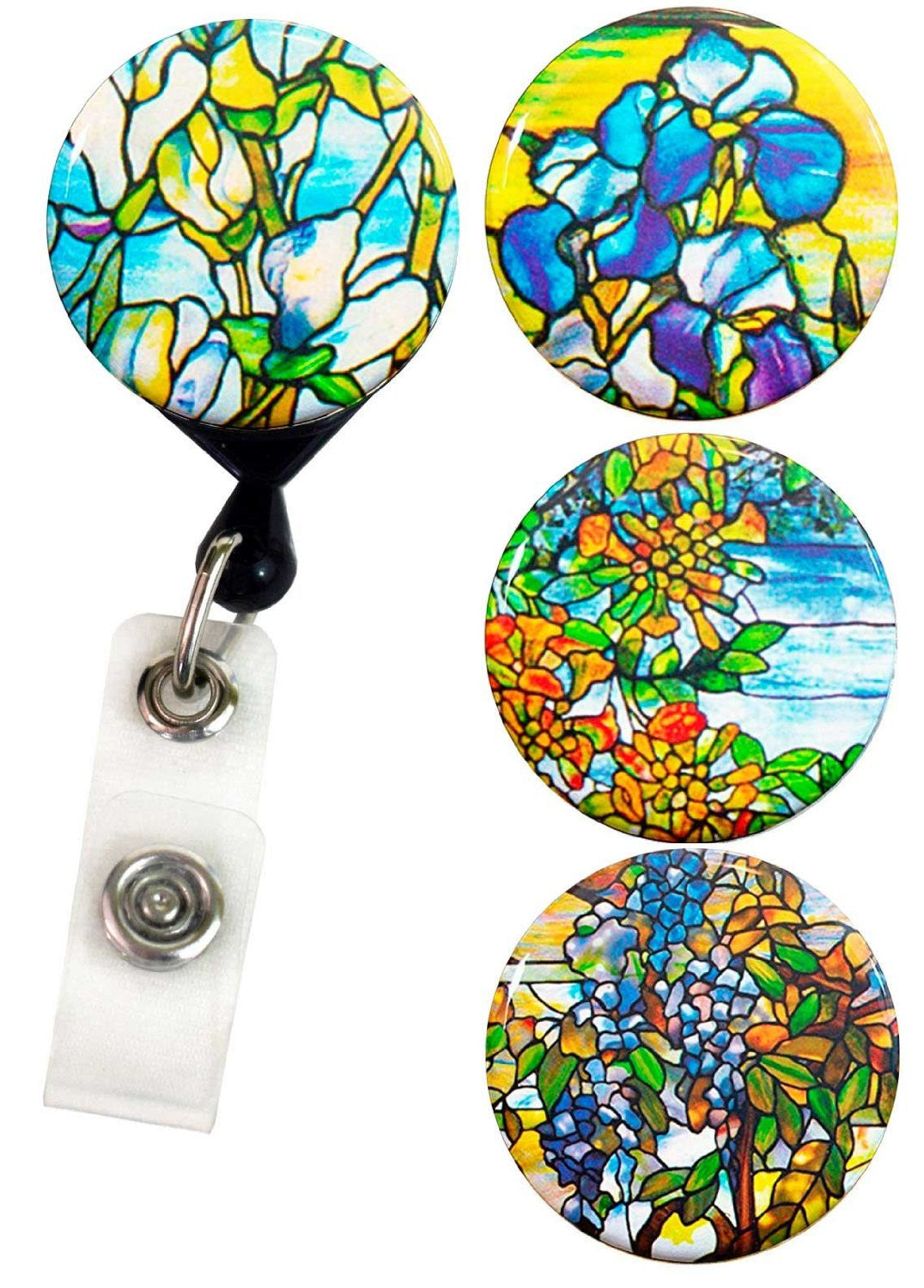 Buttonsmith® Louis Comfort Tiffany Magnolia Tinker Reel® Badge Reel – Made in USA