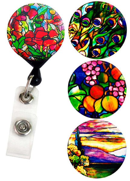 Buttonsmith® Louis Comfort Tiffany Poppies Tinker Reel® Badge Reel – Made in USA