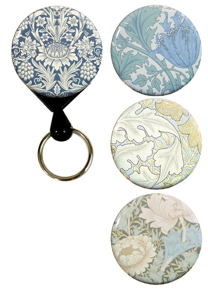 Buttonsmith® William Morris Chrysanthemum Tinker Reel® Badge Reel – Made in USA