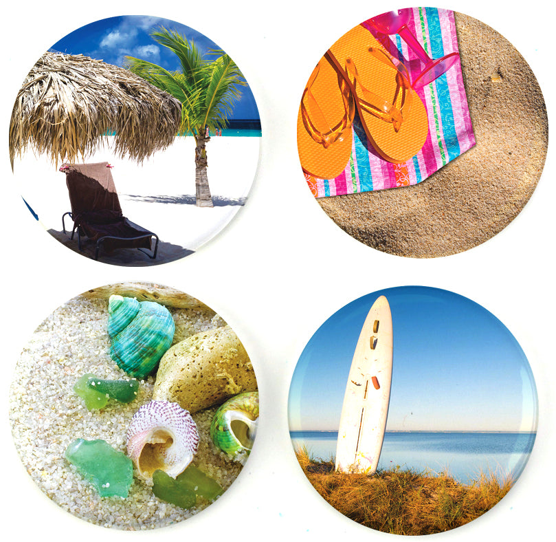 Buttonsmith® At The Beach Tinker Top® Set – Made in USA – for use with Tinker Reel® Badge Reels