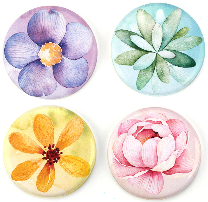 Buttonsmith® Watercolor Flowers Tinker Top® Set Made in USA for use with Tinker Reel® Badge Reels - Buttonsmith Inc.