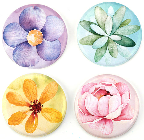 Buttonsmith® Watercolor Flowers Tinker Top® Set Made in USA for use with Tinker Reel® Badge Reels