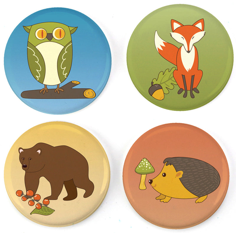 Buttonsmith® Woodland Creatures Tinker Top® Set Made in USA for use with Tinker Reel® Badge Reels - Buttonsmith Inc.