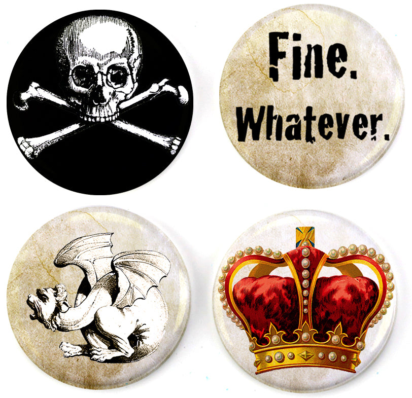 Buttonsmith® Punk Goth Tinker Top® Set – Made in USA – for use with Tinker Reel® Badge Reels