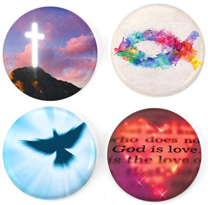 Buttonsmith® Christian Glow Tinker Top® Set – Made in USA – for use with Tinker Reel® Badge Reels
