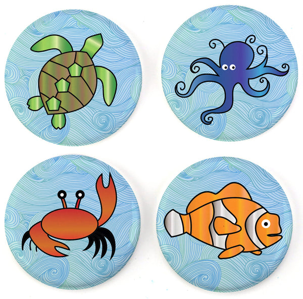 Buttonsmith® Sea Creatures Tinker Top® Set – Made in USA – for use with Tinker Reel® Badge Reels