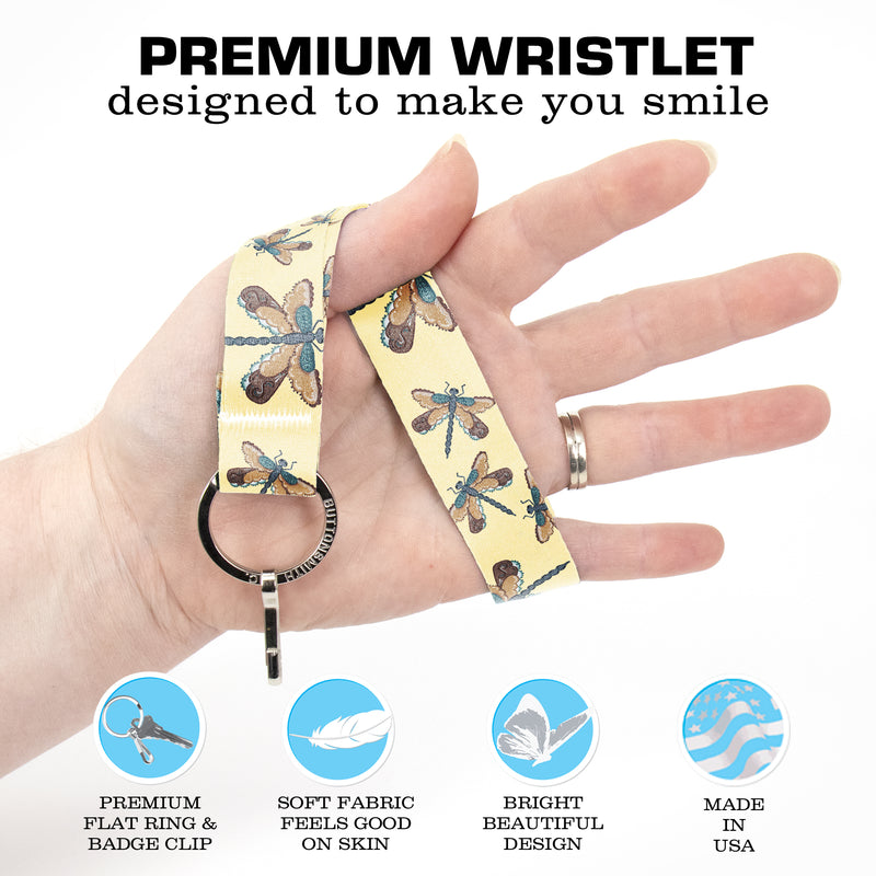 Buttonsmith Dragonflies Wristlet Key Chain Lanyard - Short Length with Flat Key Ring and Clip - Based on Rebecca McGovern Art - Officially Licensed - Made in the USA - Buttonsmith Inc.
