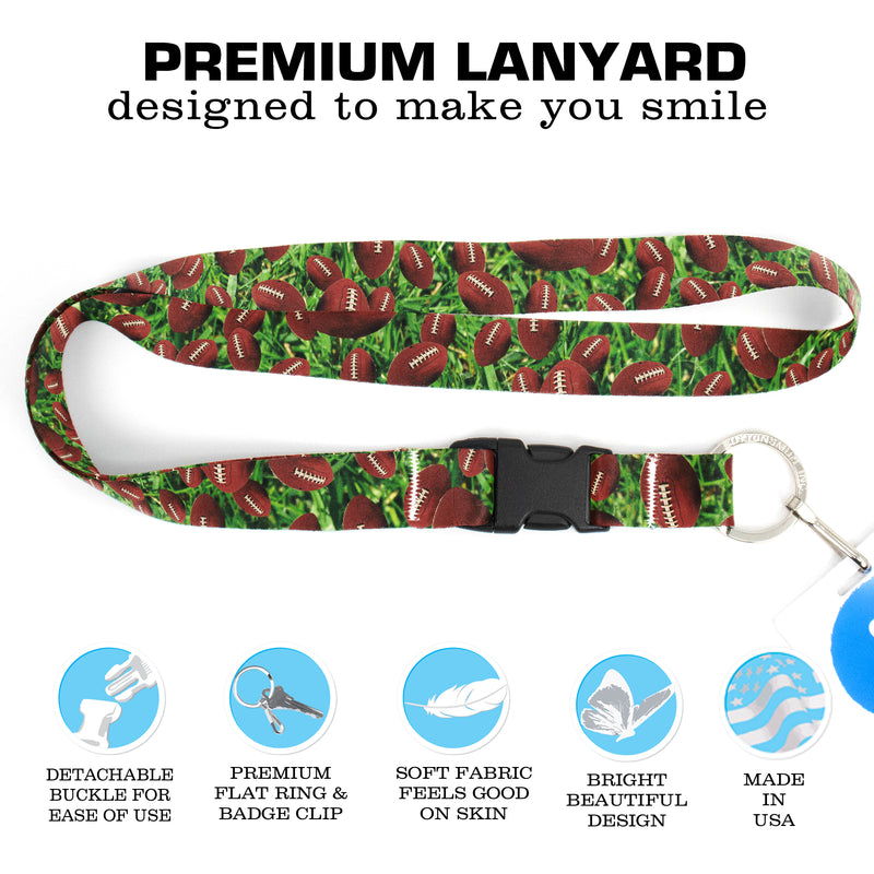 Buttonsmith Football Premium Lanyard - with Buckle and Flat Ring - Made in the USA - Buttonsmith Inc.