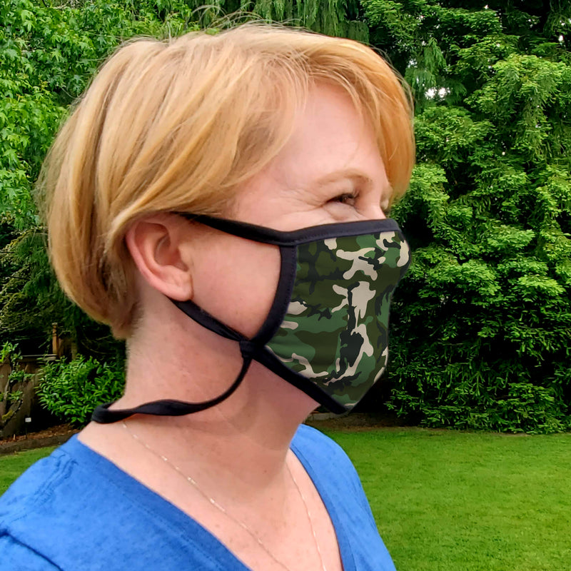 Buttonsmith Woodland Camo Youth Adjustable Face Mask with Filter Pocket - Made in the USA - Buttonsmith Inc.