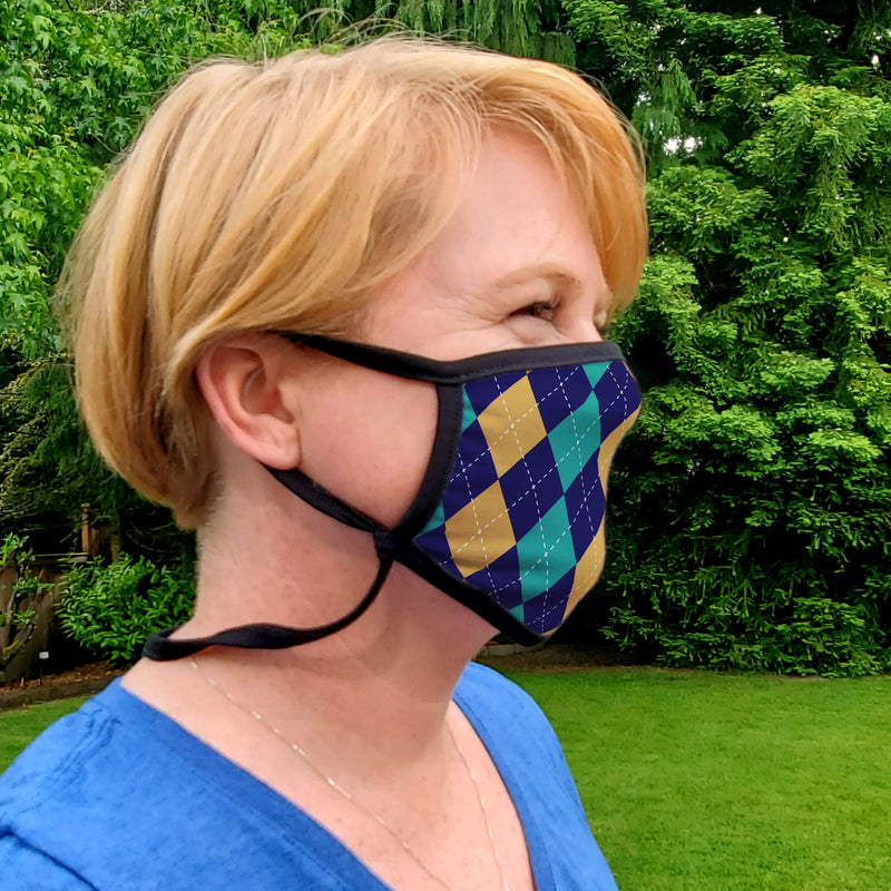Buttonsmith Argyle Adult XL Adjustable Face Mask with Filter Pocket - Made in the USA - Buttonsmith Inc.