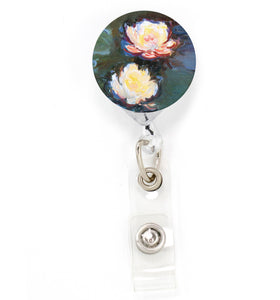 Buttonsmith Monet Waterlillies Tinker Reel Retractable Badge Reel - Made in the USA
