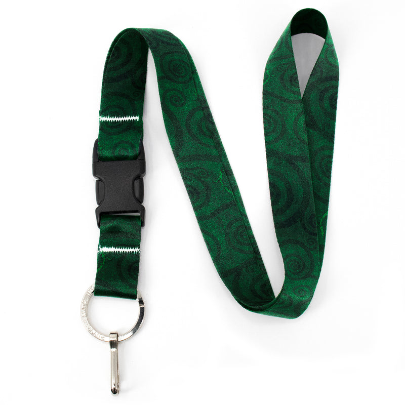 Buttonsmith Emerald Swirls Premium Lanyard - with Buckle and Flat Ring - Made in the USA - Buttonsmith Inc.