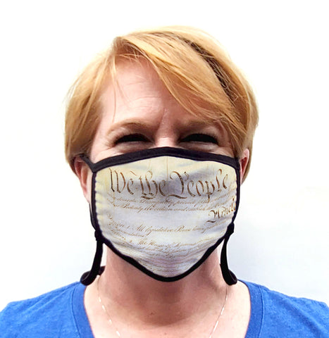 Buttonsmith We The People Adult Adjustable Face Mask with Filter Pocket - Made in the USA