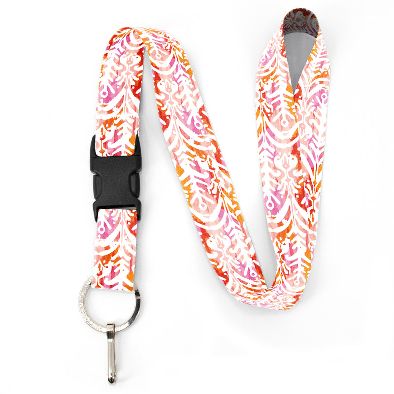 Buttonsmith Ikat Pattern Premium Lanyard - with Buckle and Flat Ring - Made in the USA - Buttonsmith Inc.