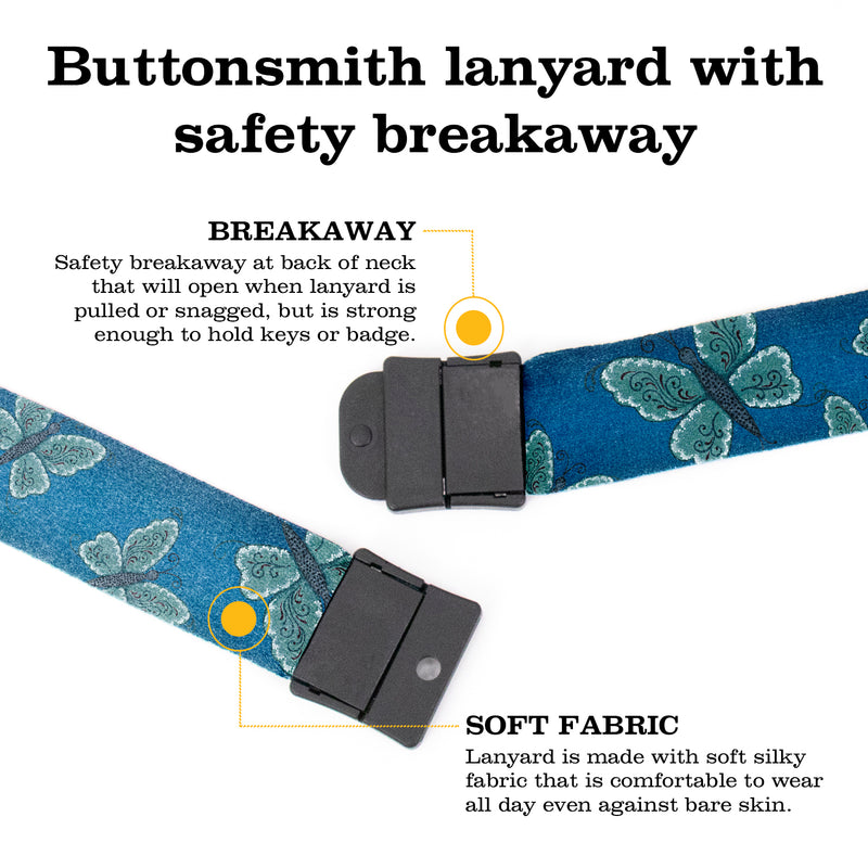 Buttonsmith Blue Butterflies Breakaway Lanyard - with Buckle and Flat Ring - Based on Rebecca McGovern Art - Officially Licensed - Made in the USA - Buttonsmith Inc.