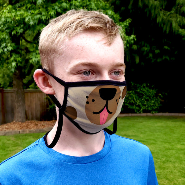 Buttonsmith Cartoon Puppy Face Adult Adjustable Face Mask with Filter Pocket - Made in the USA