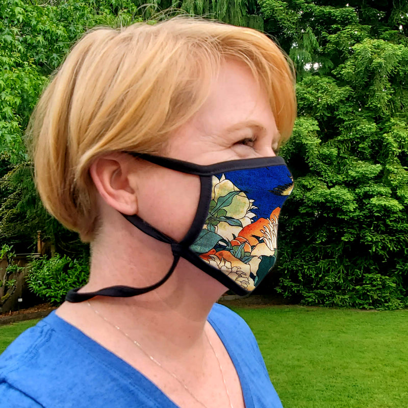 Buttonsmith Hokusai Canary & Peony Adult XL Adjustable Face Mask with Filter Pocket - Made in the USA - Buttonsmith Inc.