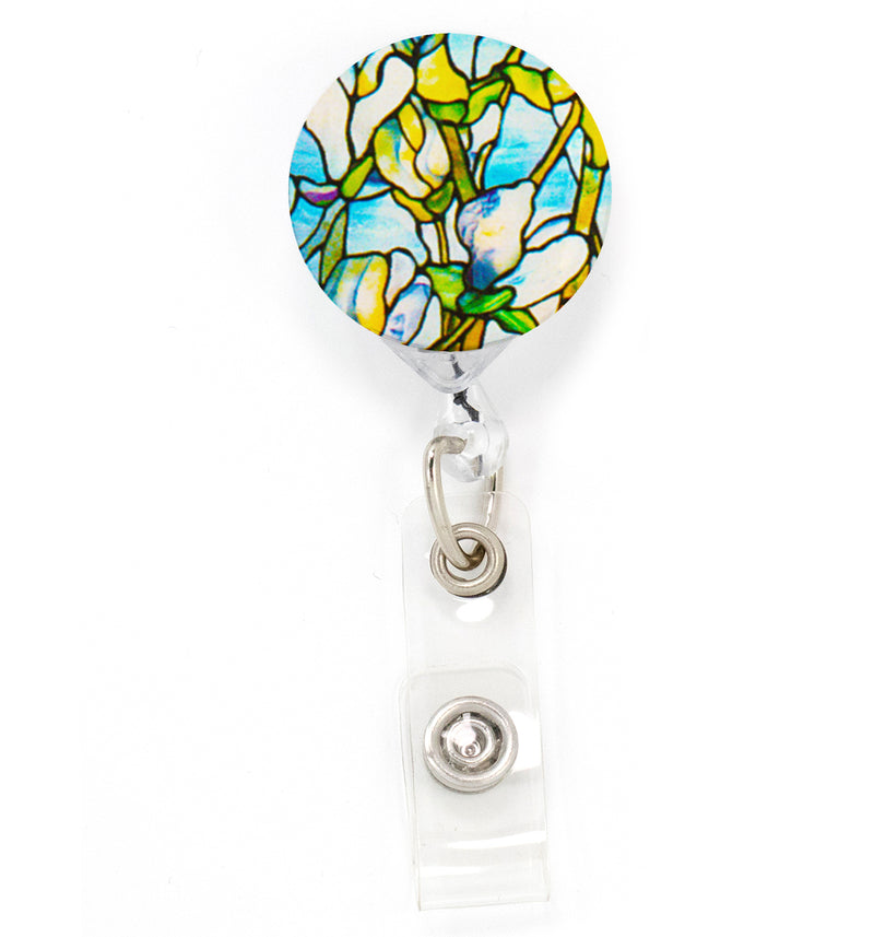 Buttonsmith Tiffany Magnolia Tinker Reel Retractable Badge Reel - Made in the USA - Buttonsmith Inc.