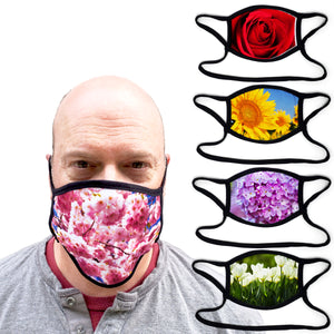 Buttonsmith Flowers - Set of 5 Adult XL Adjustable Face Mask with Filter Pocket - Made in the USA