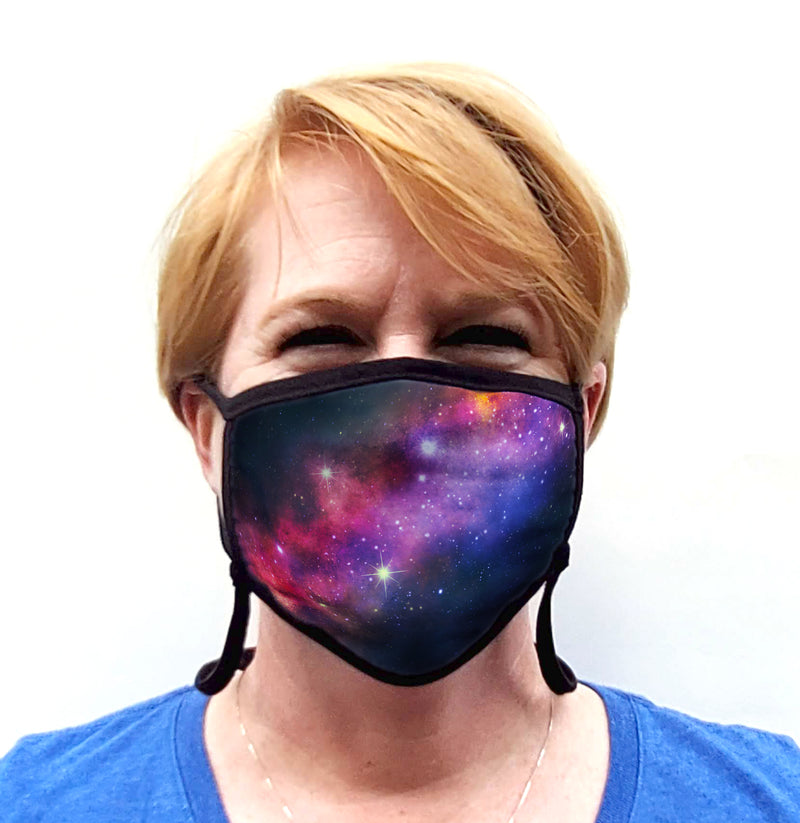 Buttonsmith Milky Way Adult Adjustable Face Mask with Filter Pocket - Made in the USA - Buttonsmith Inc.