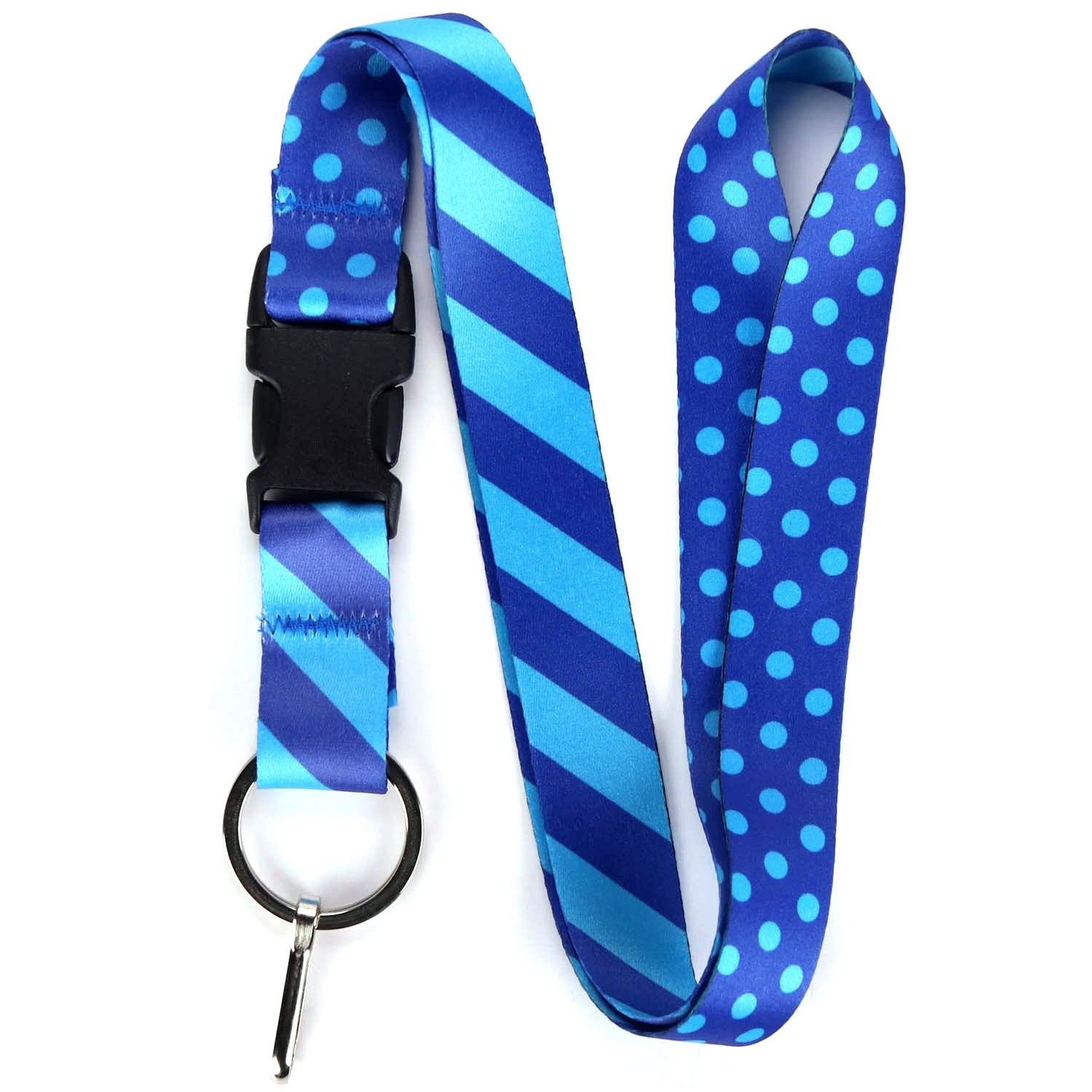 Buttonsmith Blue Dots Lanyard - Made in USA