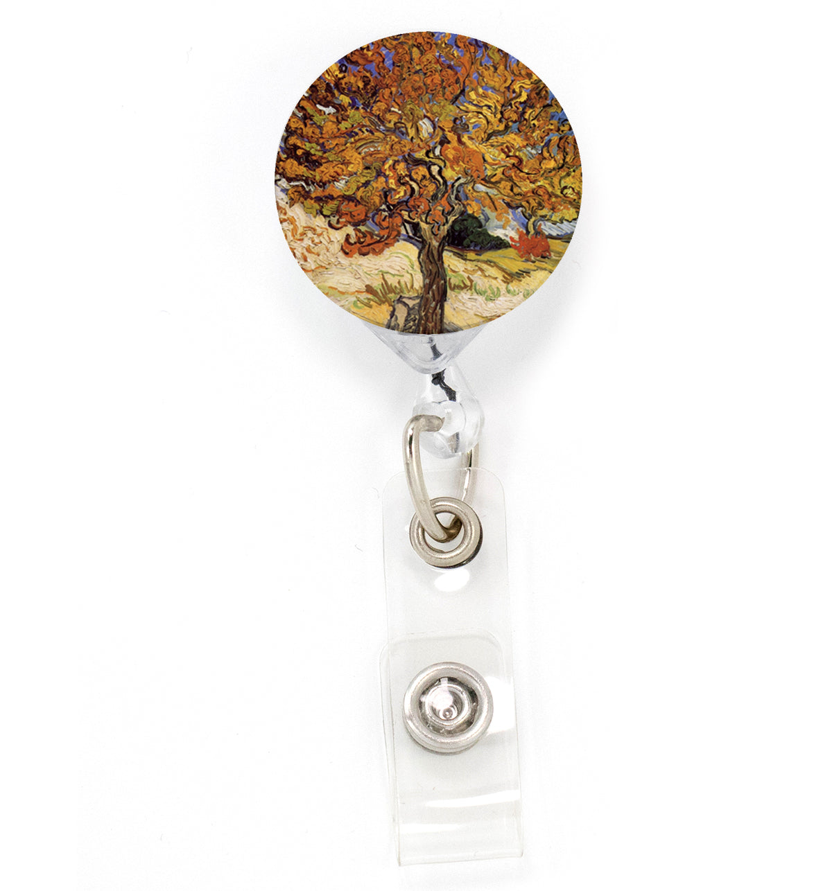 Buttonsmith VanGogh Mulberry Tree Tinker Reel Retractable Badge Reel - Made in the USA