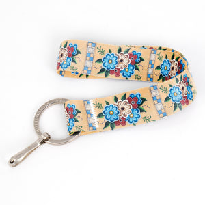 Buttonsmith Quilted Flowers Wristlet Key Chain Lanyard - Short Length with Flat Key Ring and Clip - Based on Rebecca McGovern Art - Officially Licensed - Made in the USA