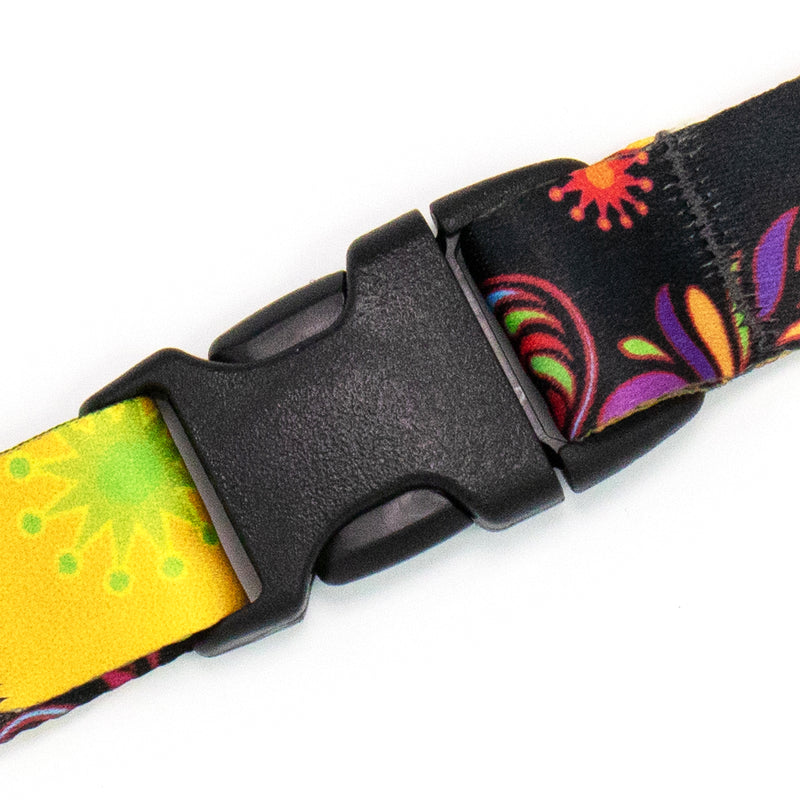 Buttonsmith Bright Floral Premium Lanyard - Made in USA - Buttonsmith Inc.