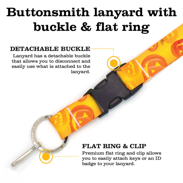 Buttonsmith Jack-O-Lantern Custom Lanyard - Made in USA