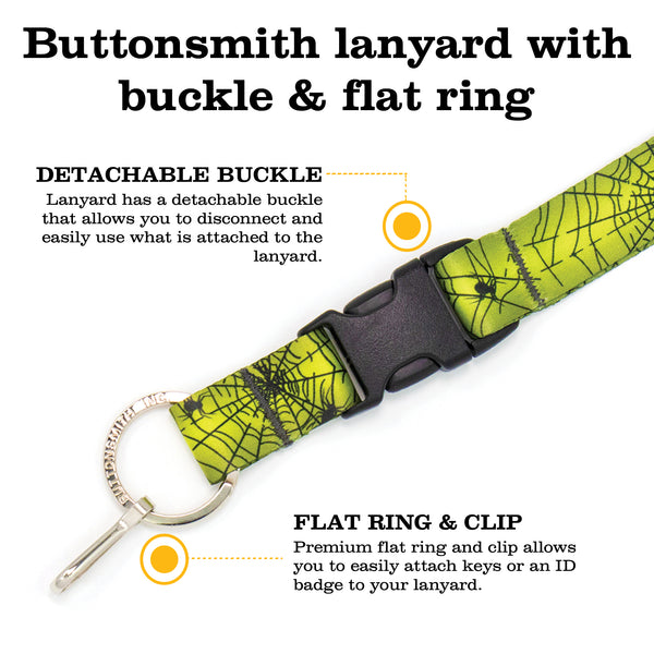 Buttonsmith Spider Web Halloween Premium Lanyard - Made in USA